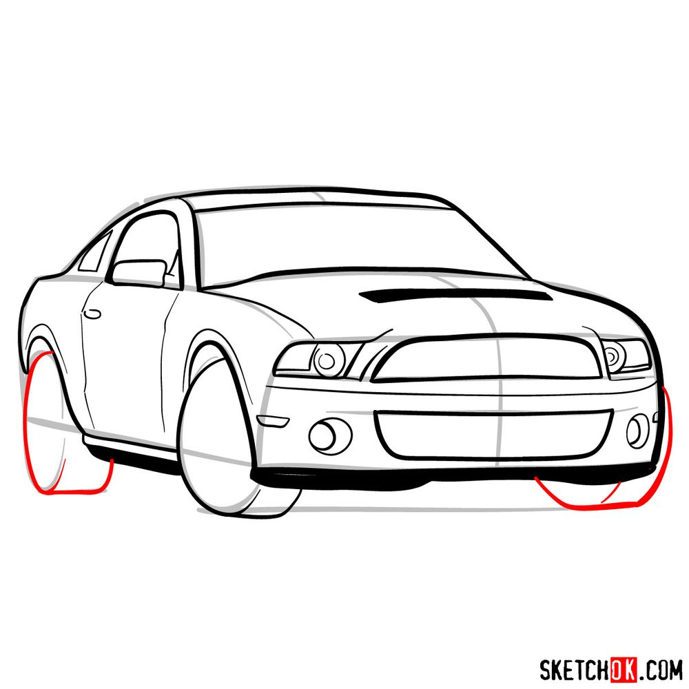 How to draw Shelby GT500 Ford Mustang 2009 - step 11