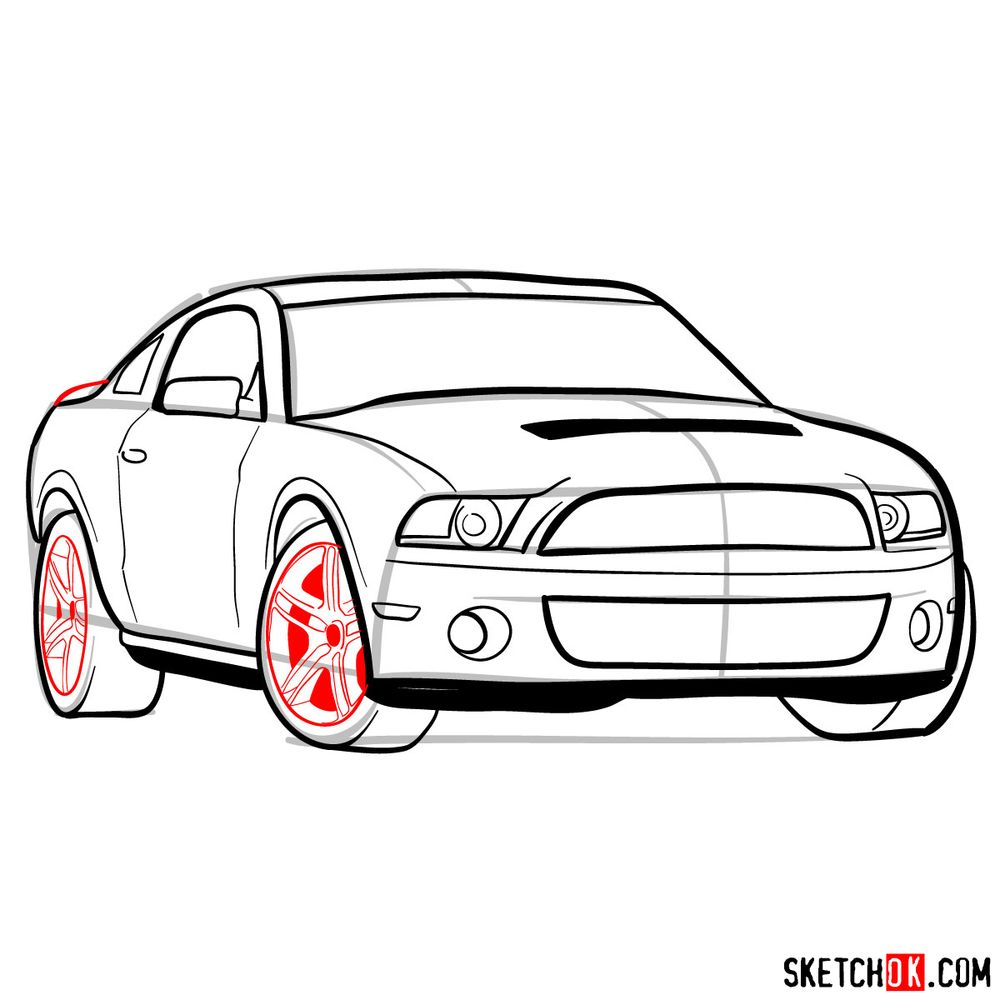 How to draw Shelby GT500 Ford Mustang 2009 - step 12