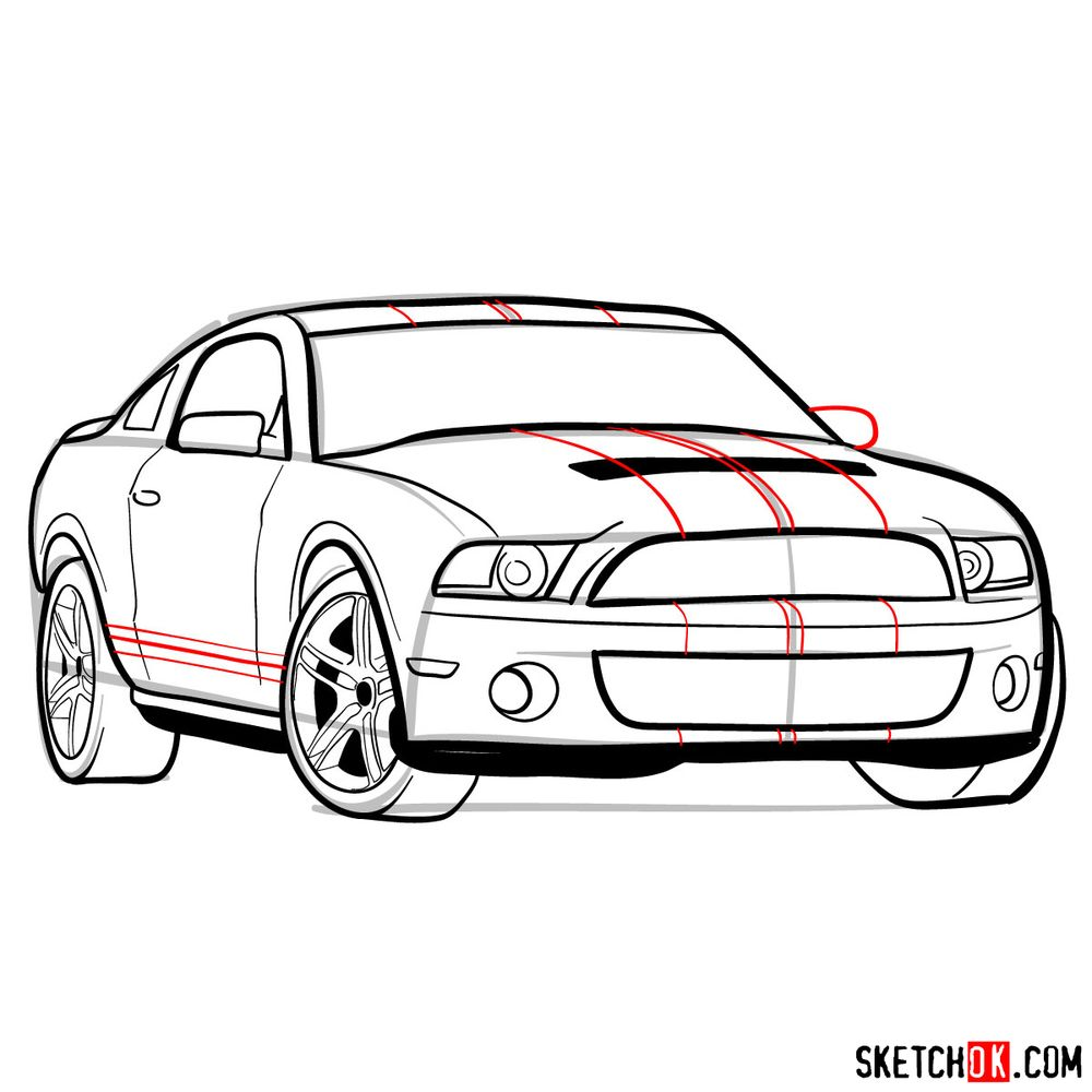 How to draw Shelby GT500 Ford Mustang 2009 - step 13