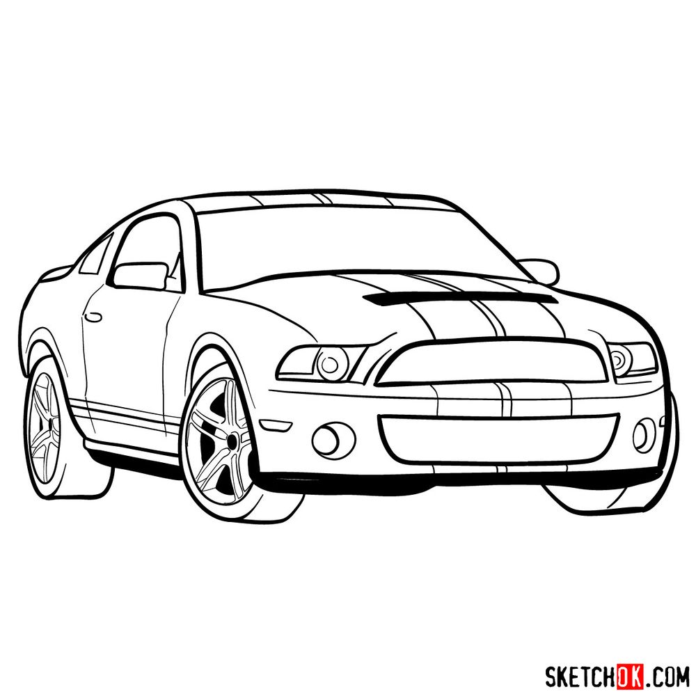 How to draw Shelby GT500 Ford Mustang 2009 - step 14