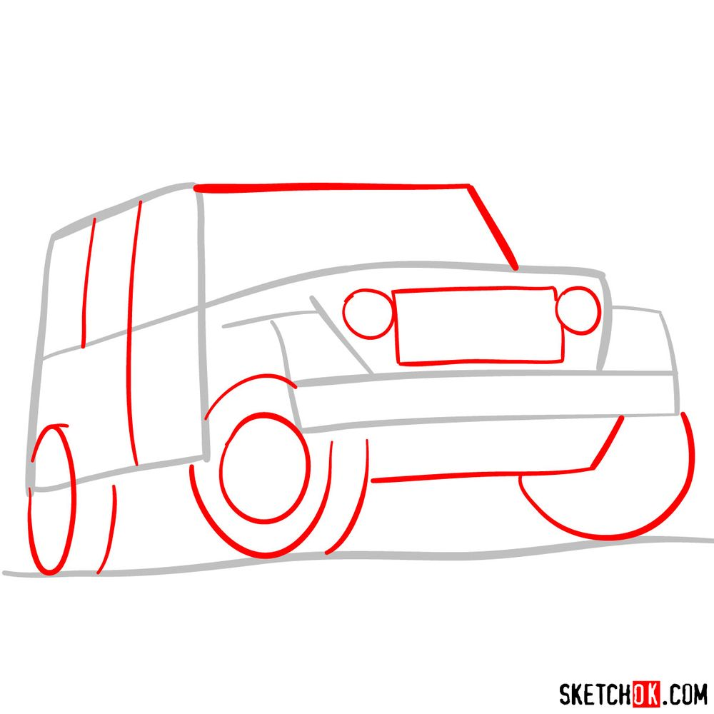 How to draw Jeep Wrangler Rubicon - step 02