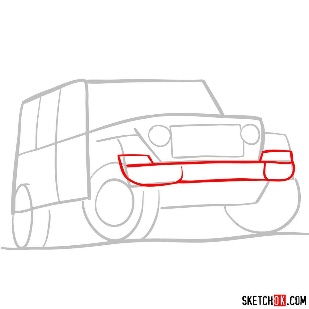 How to draw Jeep Wrangler Rubicon - step 03