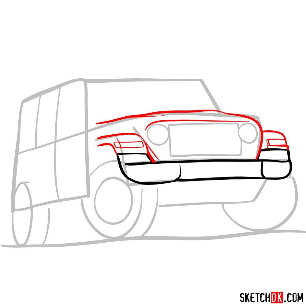 How to draw Jeep Wrangler Rubicon - step 04