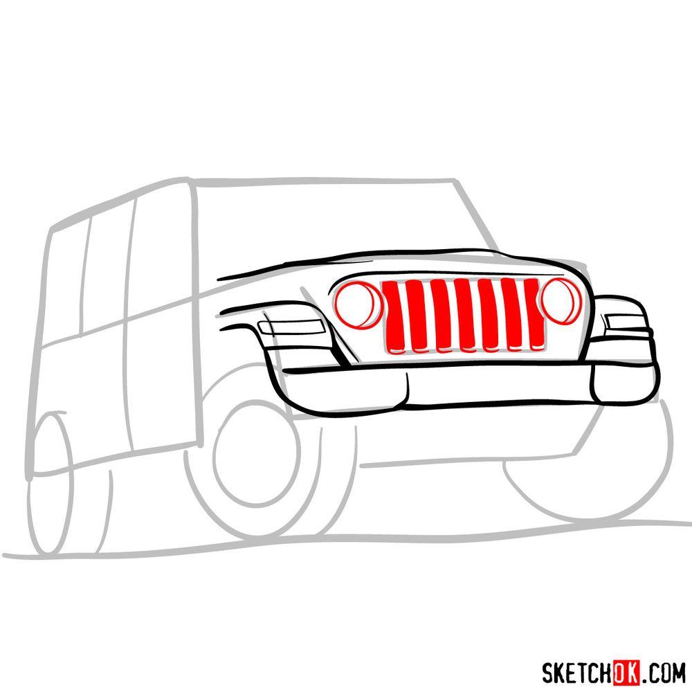How to draw Jeep Wrangler Rubicon - step 05
