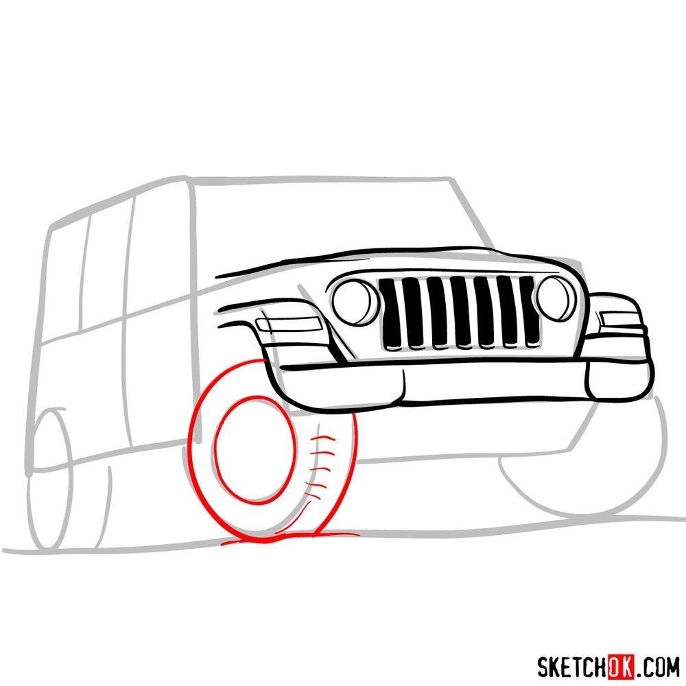 How to draw Jeep Wrangler Rubicon - step 06
