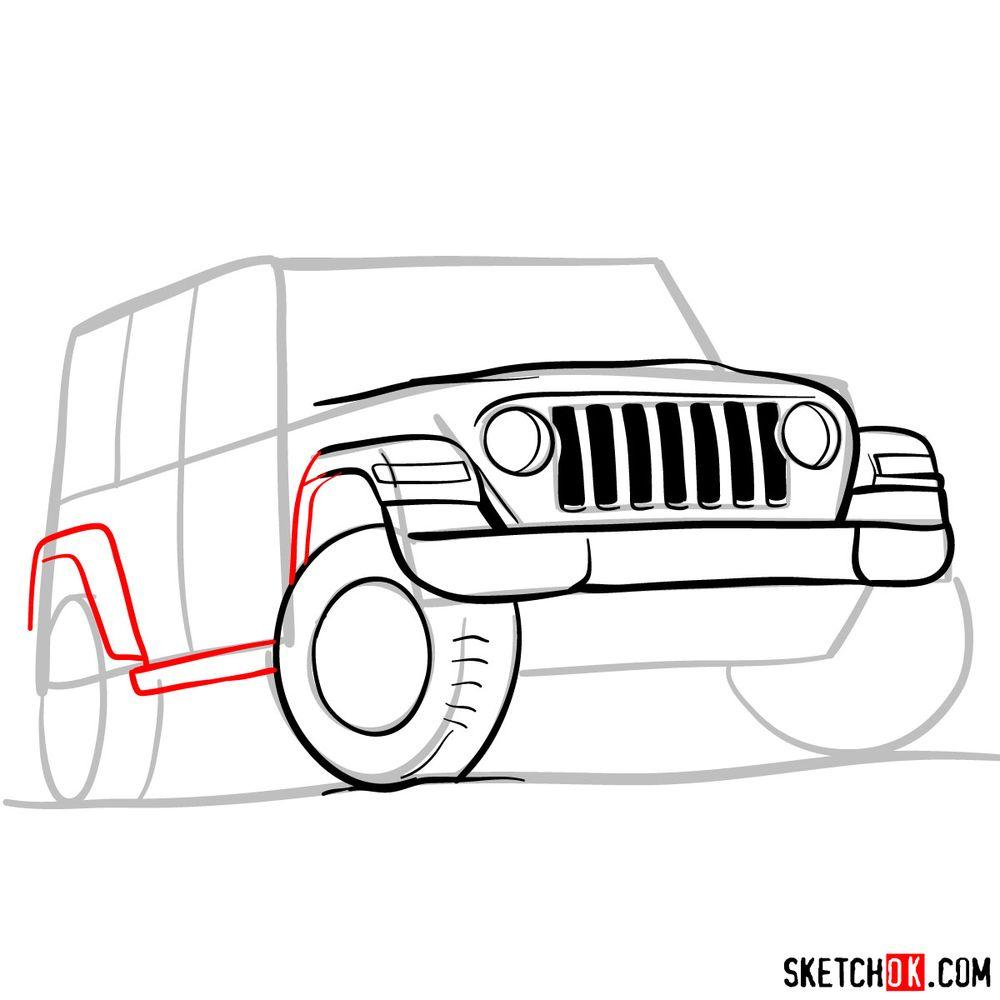 How to draw Jeep Wrangler Rubicon - step 07
