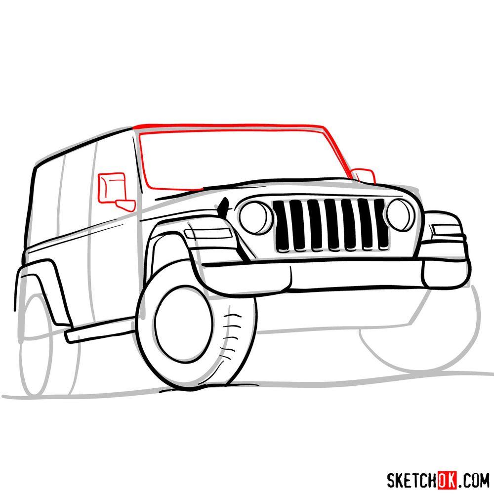 How to draw Jeep Wrangler Rubicon - step 09