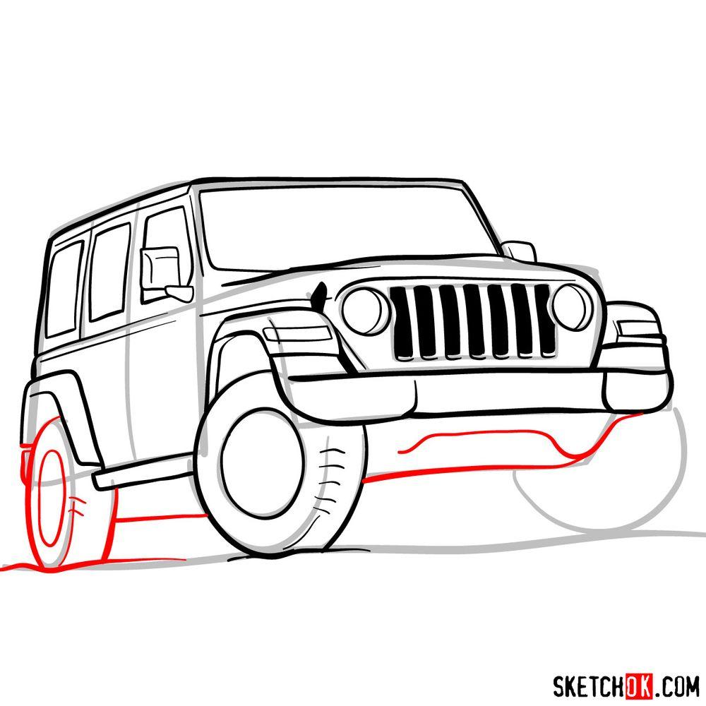 How to draw Jeep Wrangler Rubicon - step 11