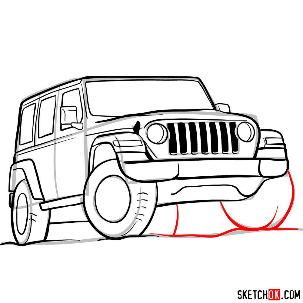 How to draw Jeep Wrangler Rubicon - step 12