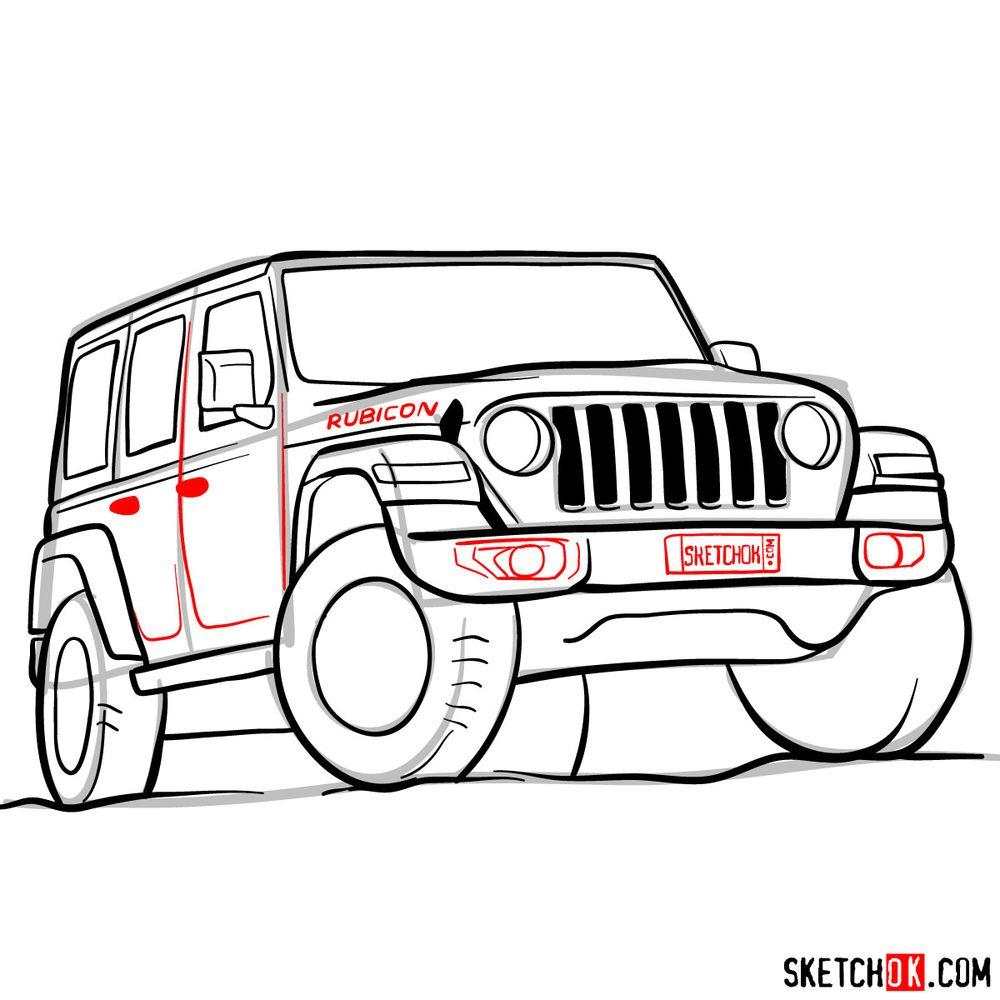 How to draw Jeep Wrangler Rubicon - step 13