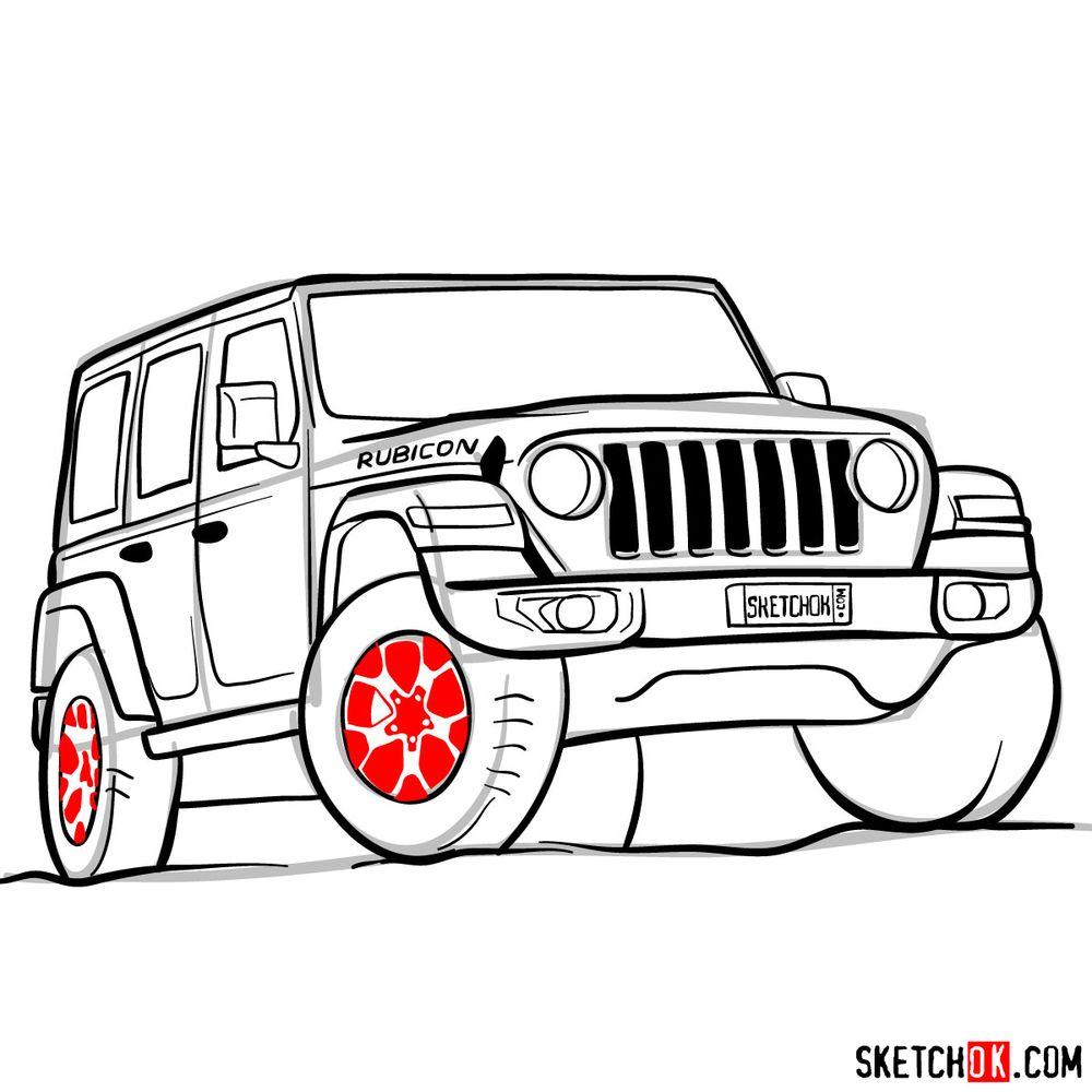 How to draw Jeep Wrangler Rubicon - step 14