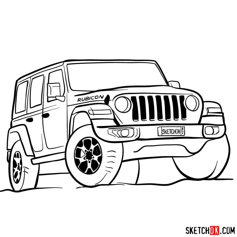 How to draw Jeep Wrangler Rubicon - step 15