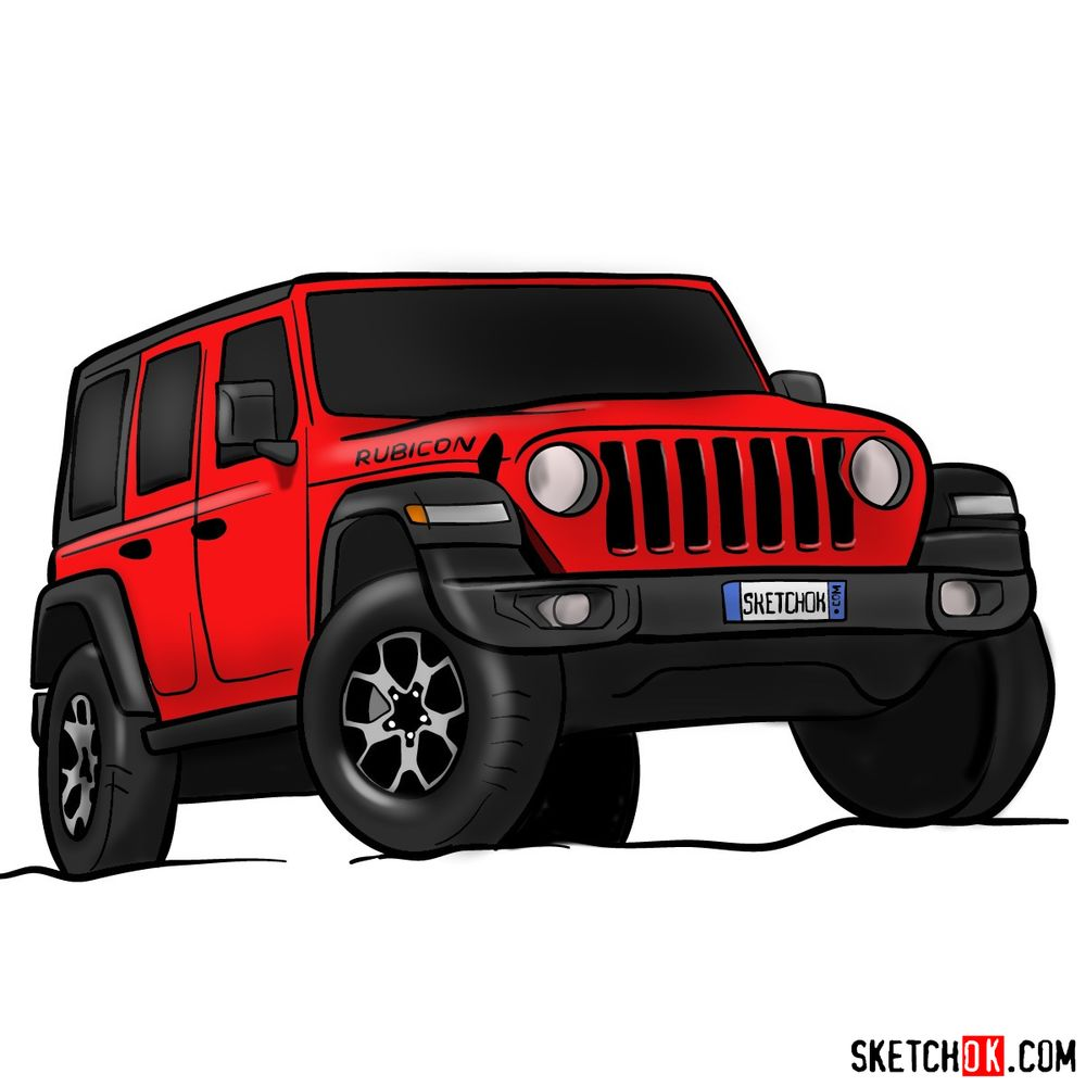 How to draw Jeep Wrangler Rubicon
