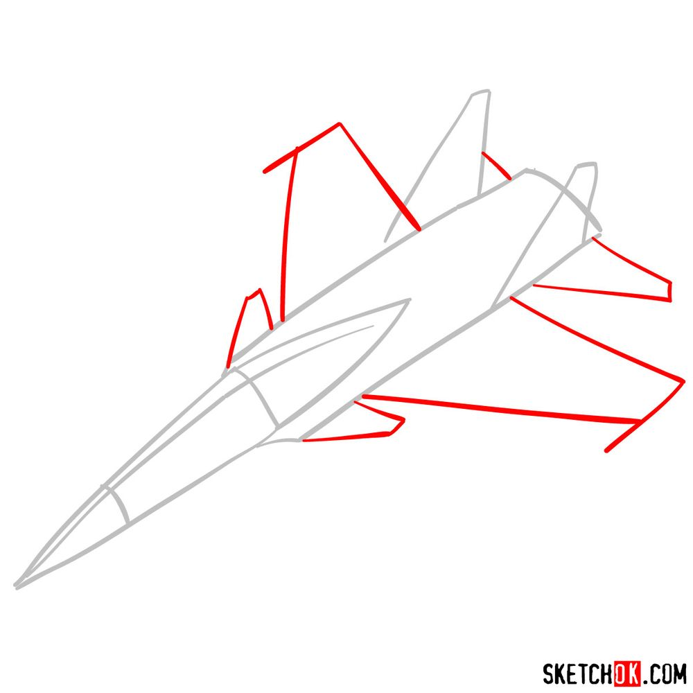 How to draw Russian Su-30MKI Jet (Flanker-H) - step 02