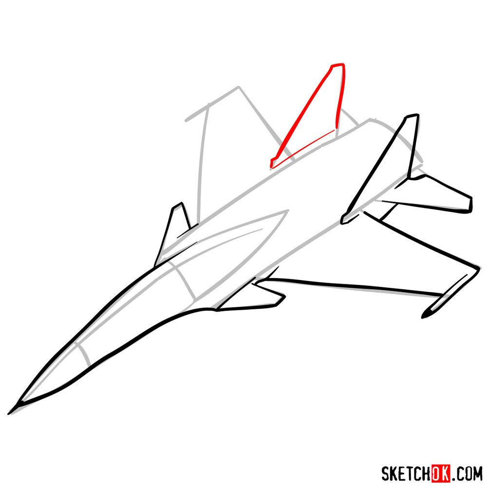 How to draw Russian Su-30MKI Jet (Flanker-H) - step 07