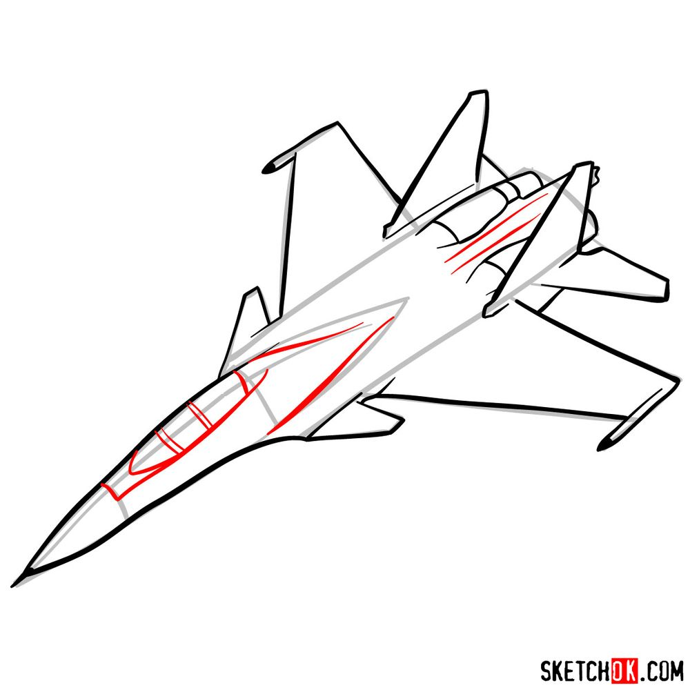 How to draw Russian Su-30MKI Jet (Flanker-H) - step 10