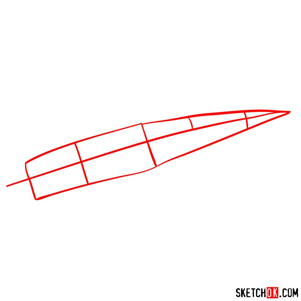 How to draw Russian Sukhoi Su-27 jet - step 01