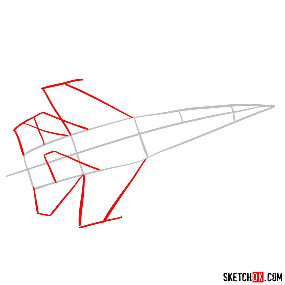 How to draw Russian Sukhoi Su-27 jet - step 02