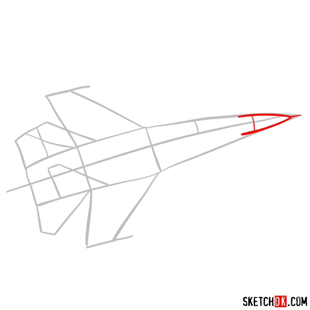 How to draw Russian Sukhoi Su-27 jet - step 03