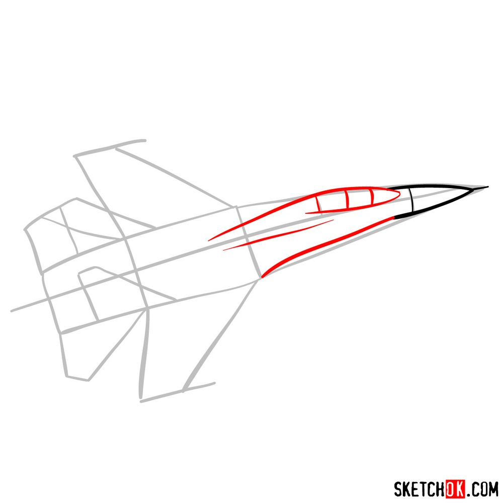 How to draw Russian Sukhoi Su-27 jet - step 04