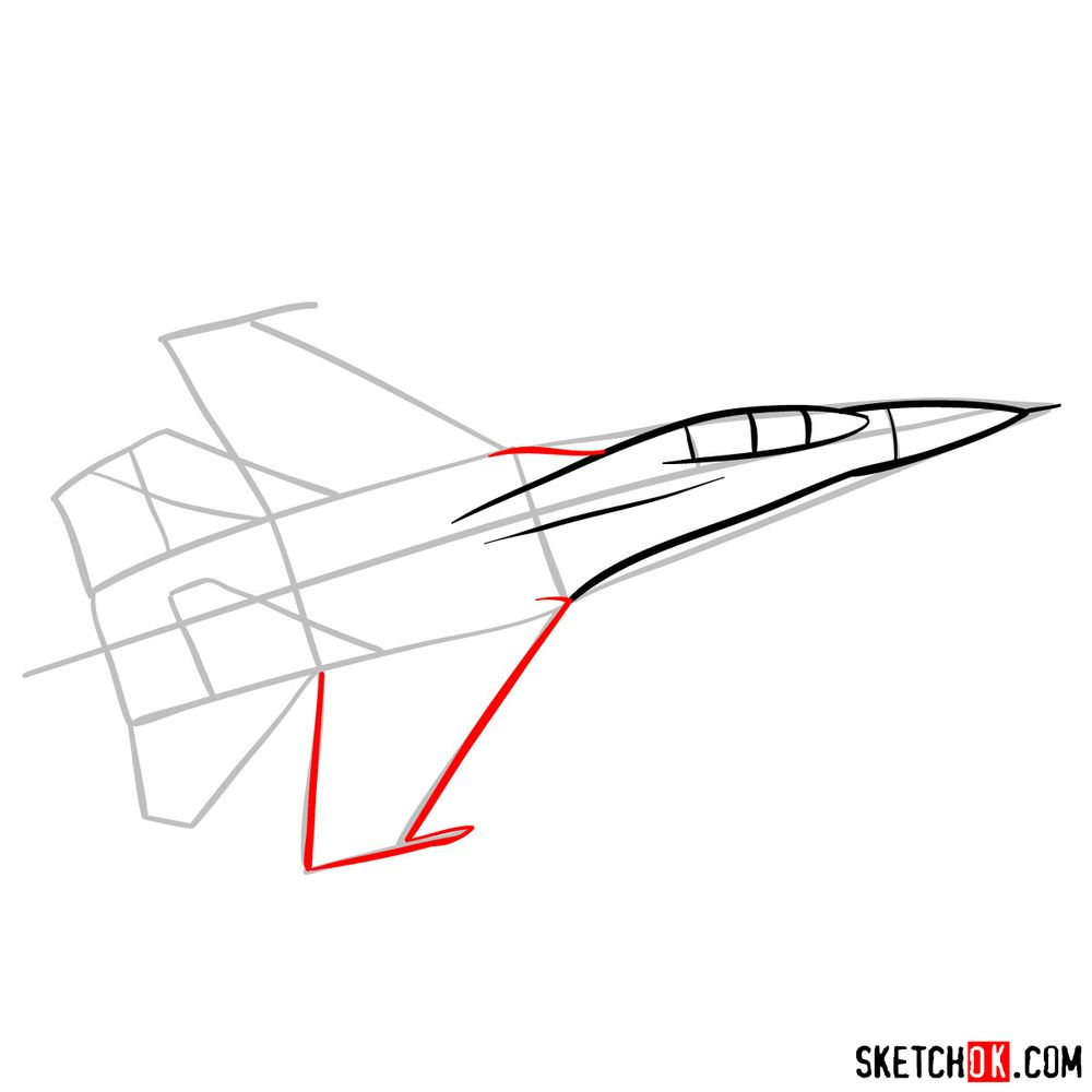 How to draw Russian Sukhoi Su-27 jet - step 05