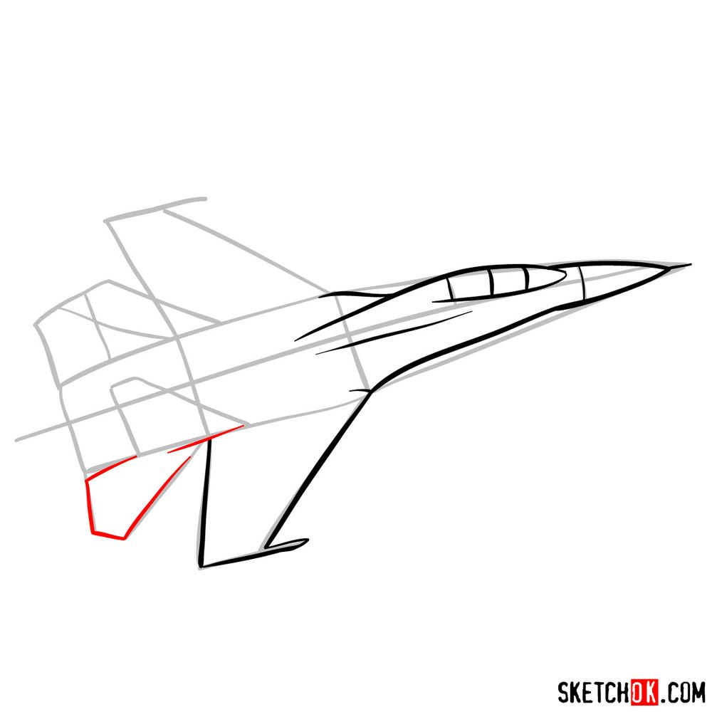 How to draw Russian Sukhoi Su-27 jet - step 06