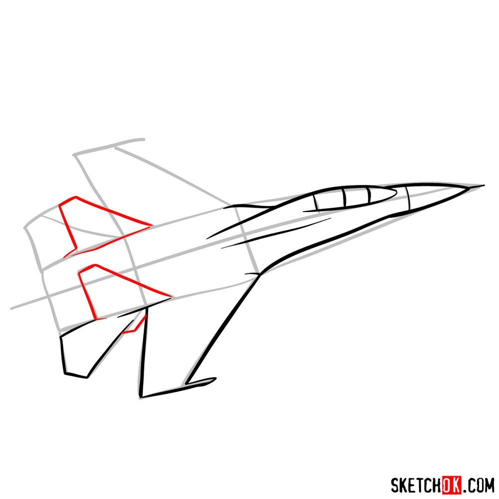How to draw Russian Sukhoi Su-27 jet - step 07