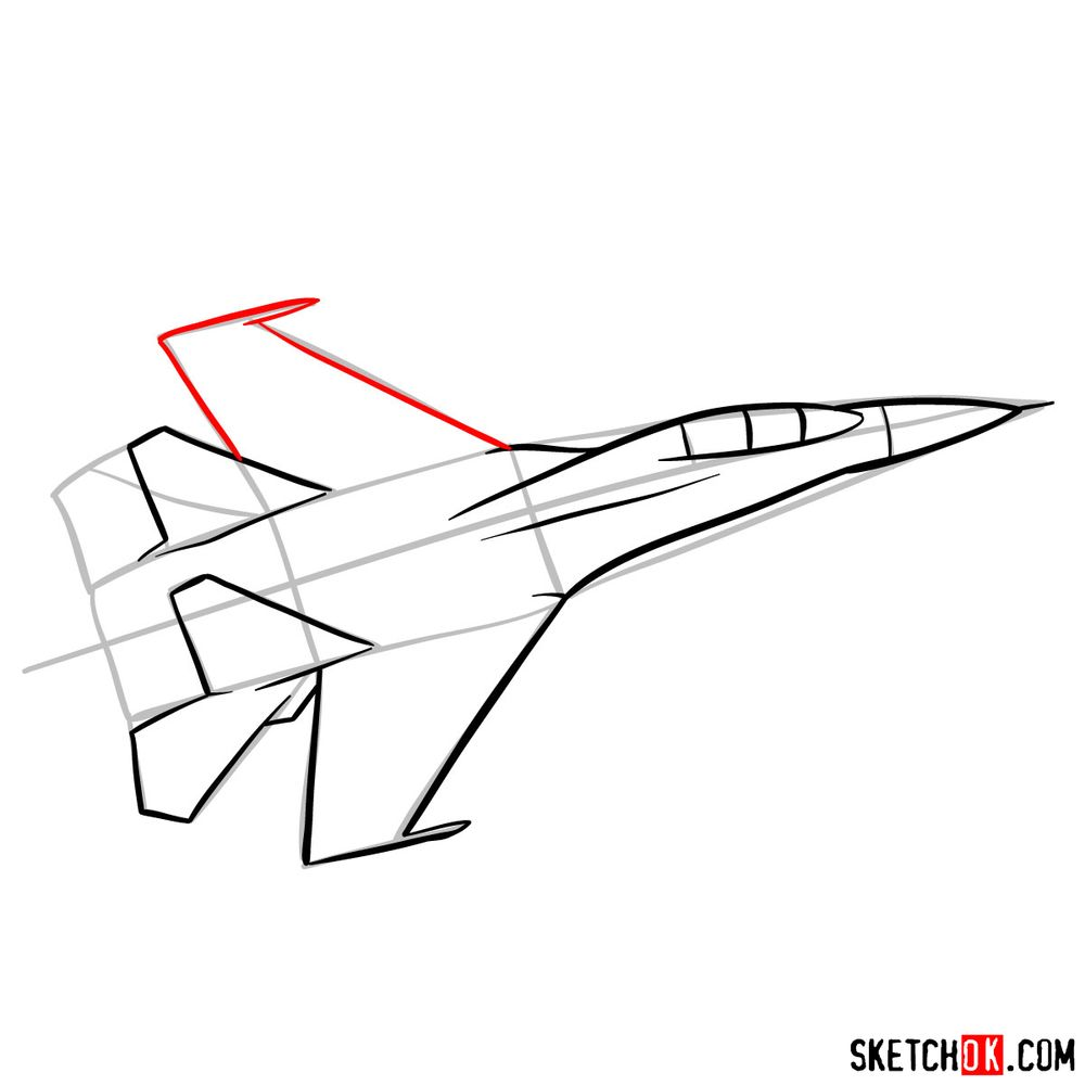 How to draw Russian Sukhoi Su-27 jet - step 08