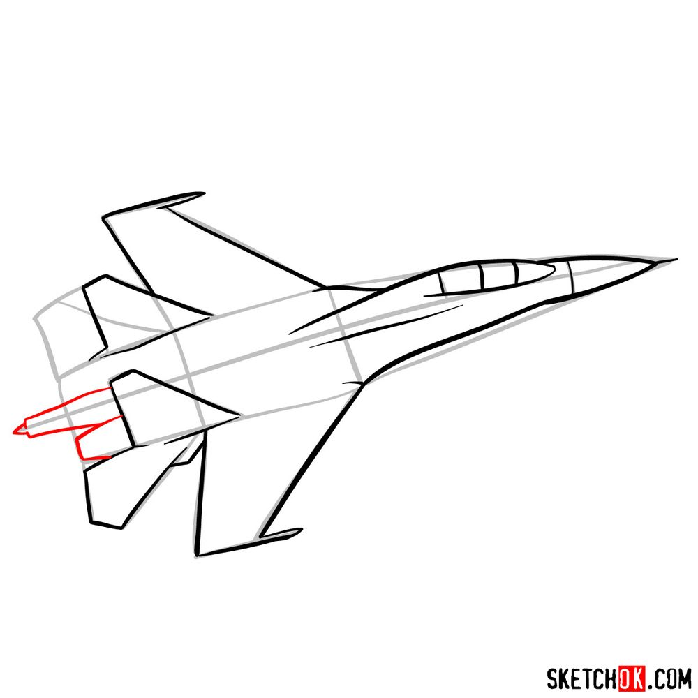 How to draw Russian Sukhoi Su-27 jet - step 09