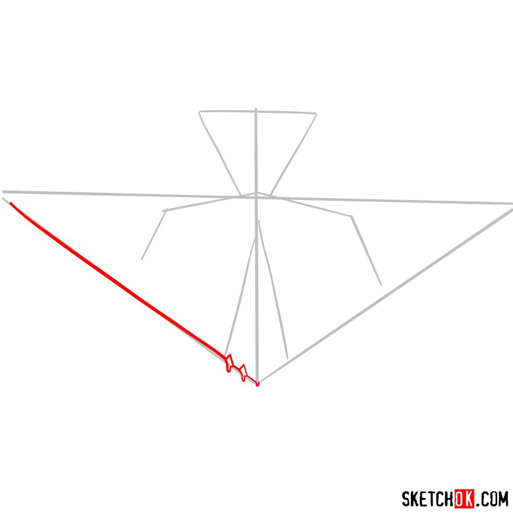 How to draw Lockheed F-117 Nighthawk - step 03