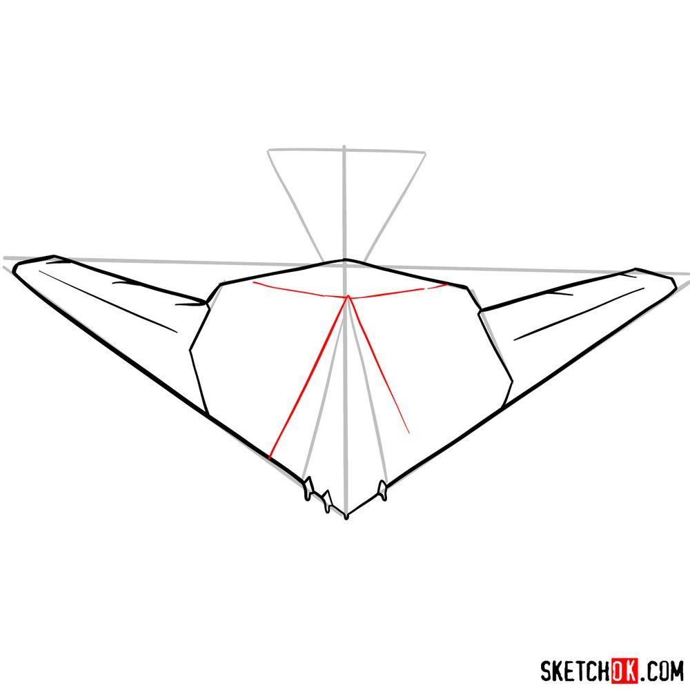 How to draw Lockheed F-117 Nighthawk - step 07