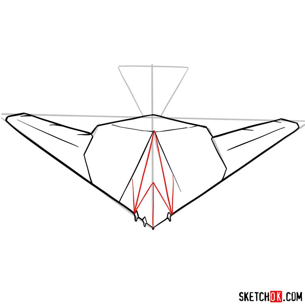 How to draw Lockheed F-117 Nighthawk - step 08