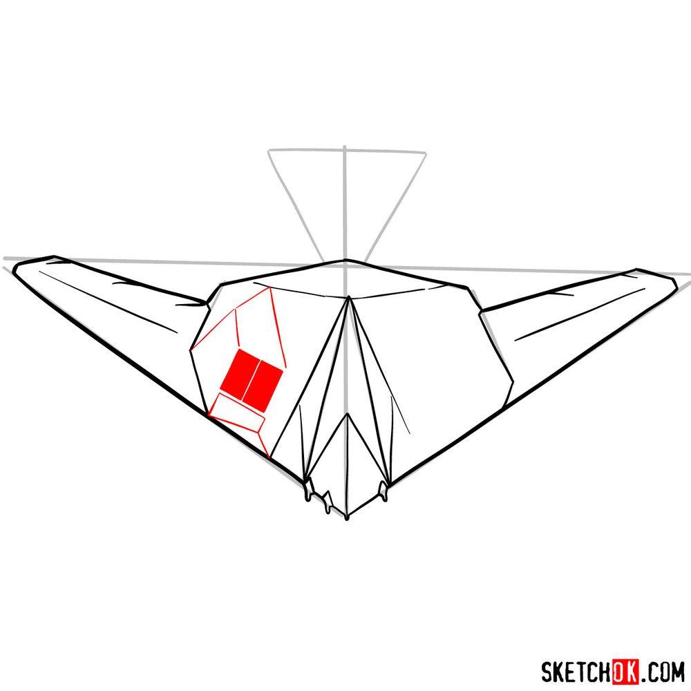 How to draw Lockheed F-117 Nighthawk - step 09