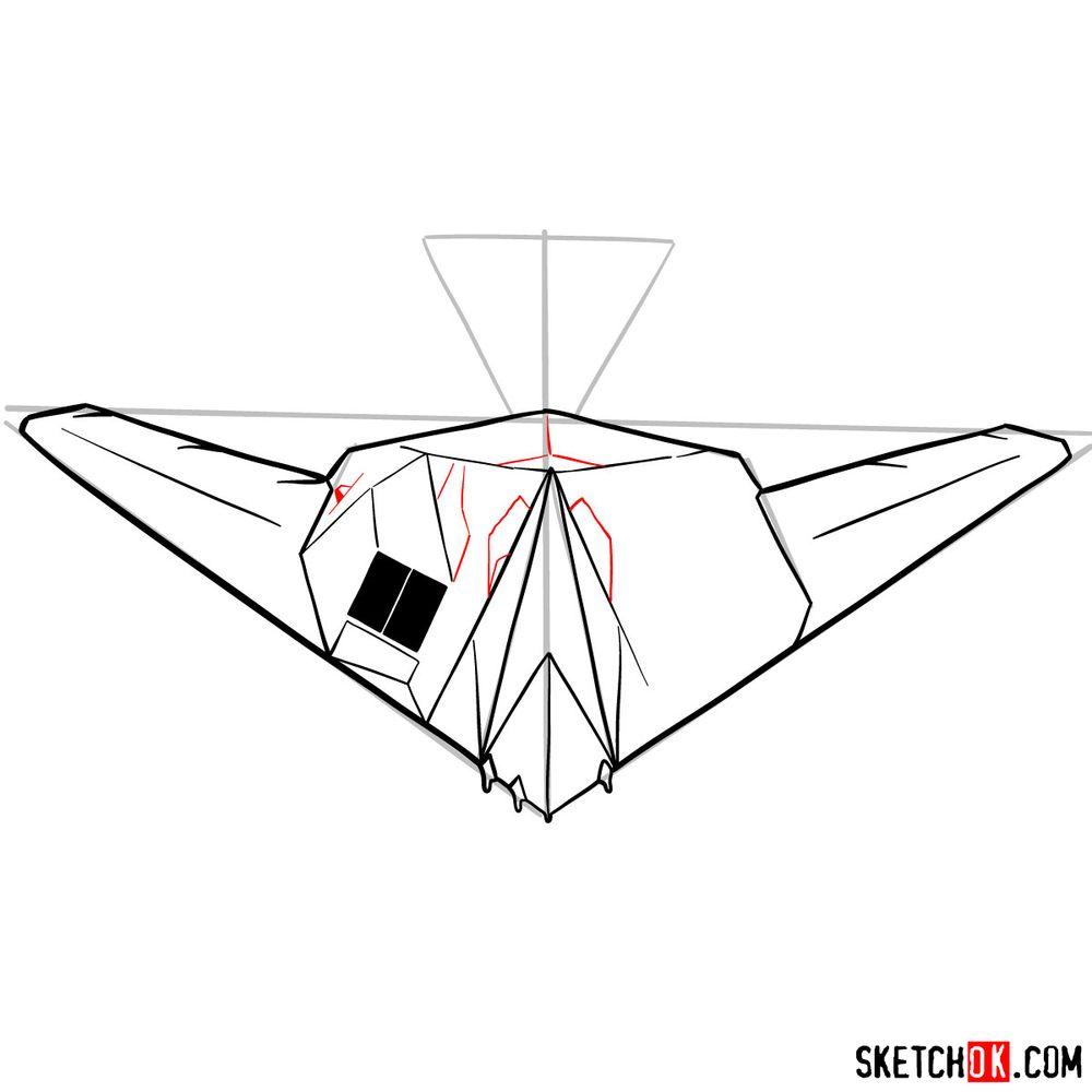How to draw Lockheed F-117 Nighthawk - step 10