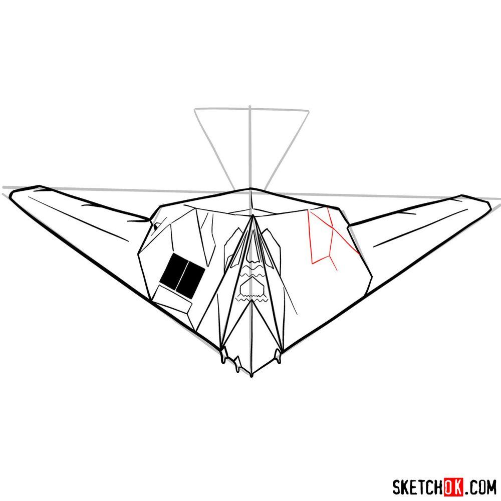How to draw Lockheed F-117 Nighthawk - step 12