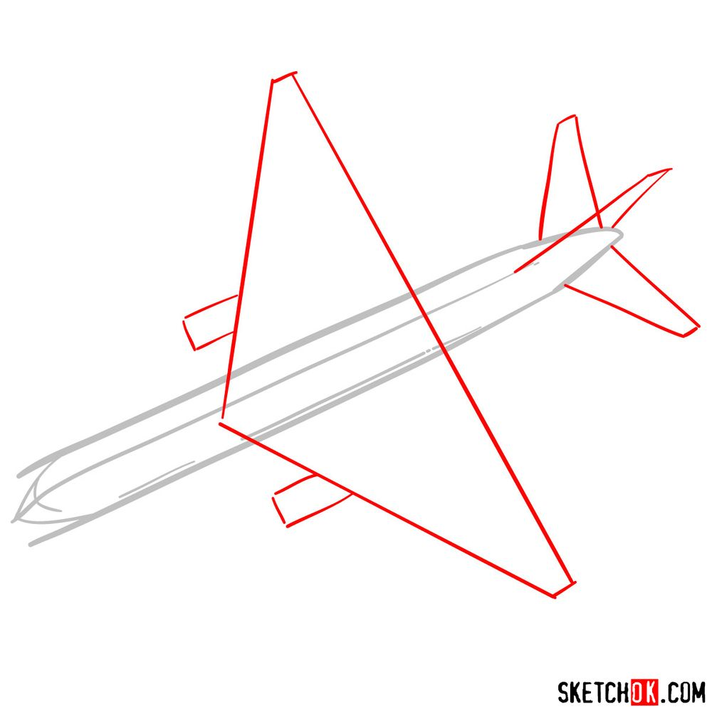 How to draw Boeing 767 - step 02
