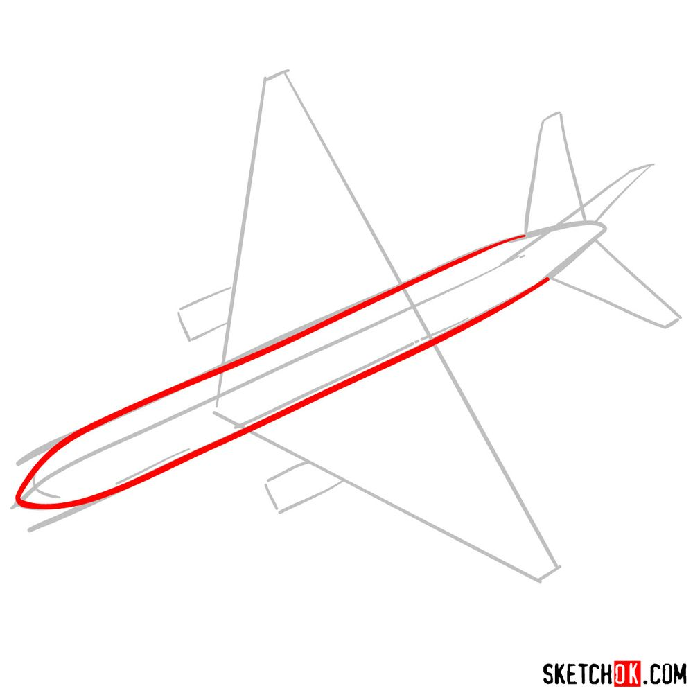How to draw Boeing 767 - step 03