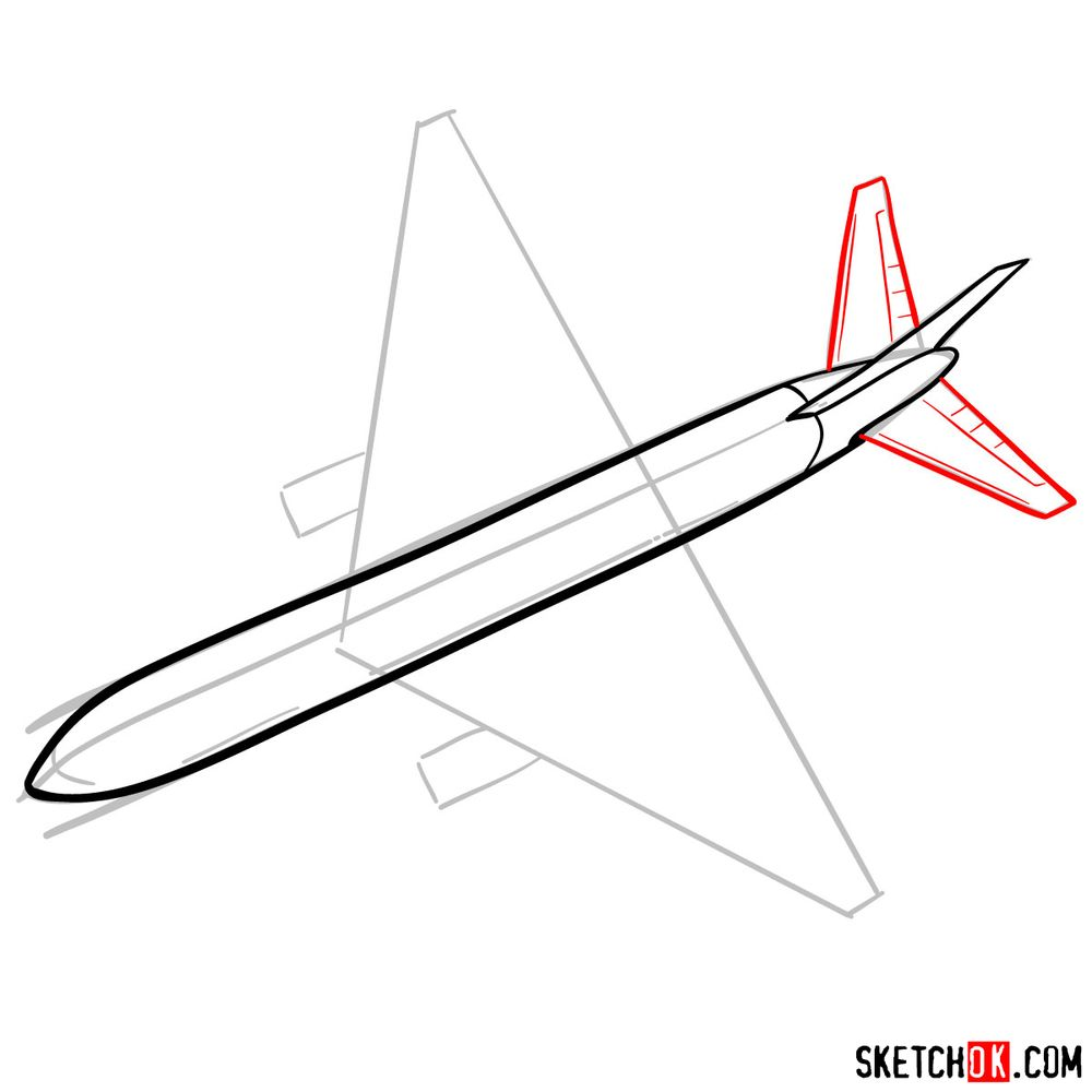 How to draw Boeing 767 - step 05