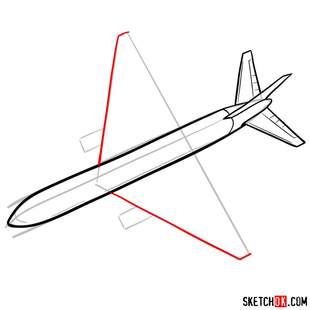 How to draw Boeing 767 - step 06