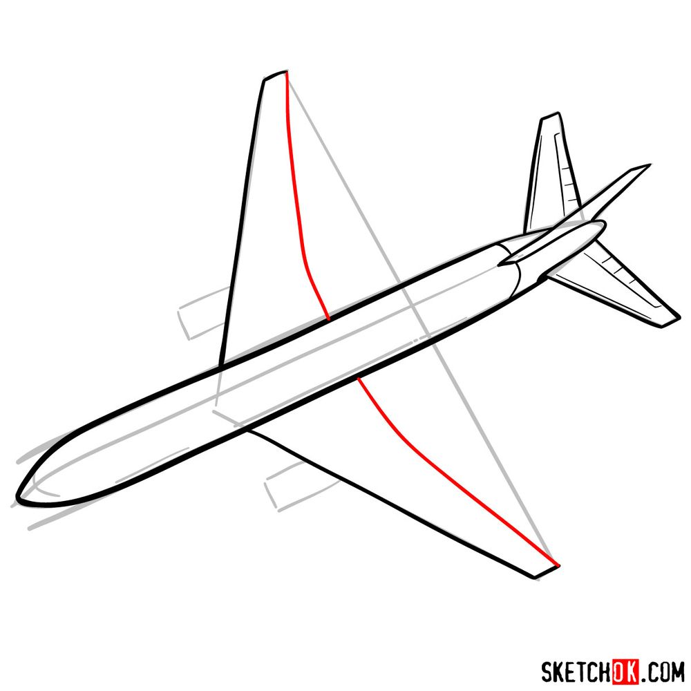 How to draw Boeing 767 - step 07