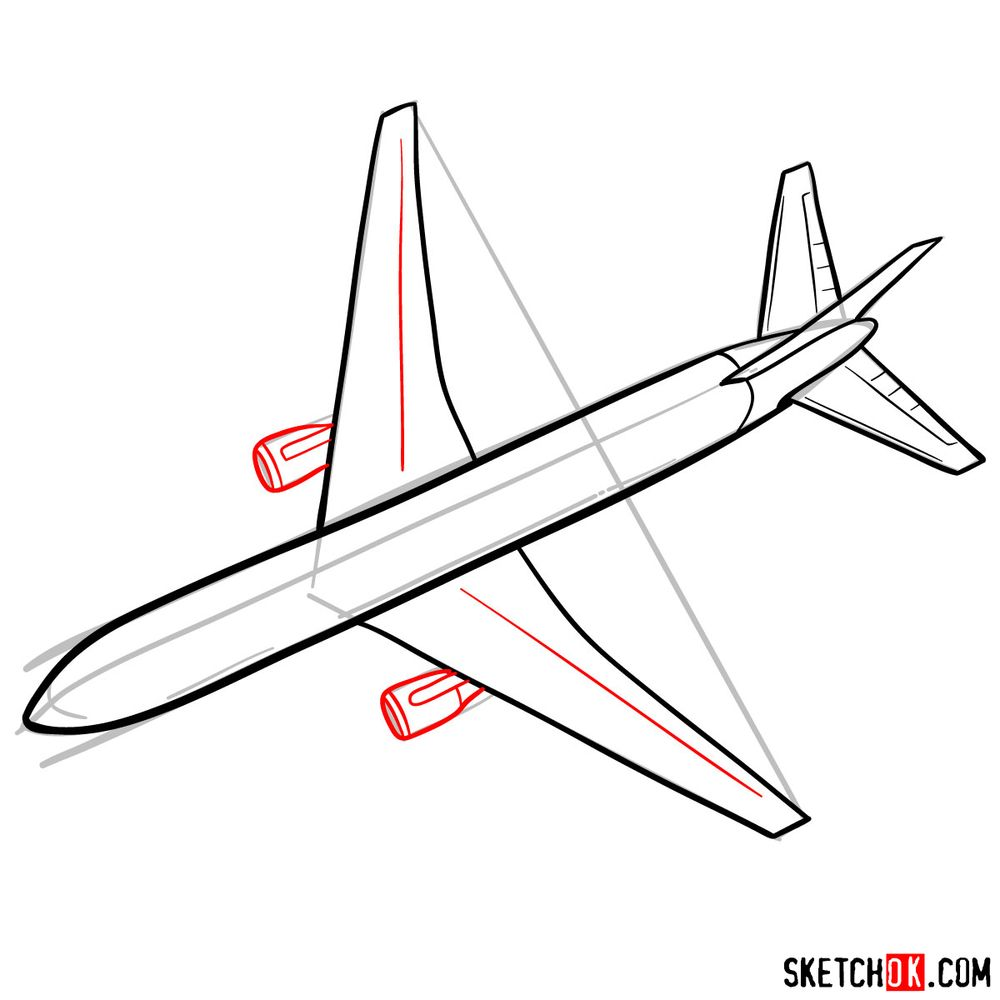 How to draw Boeing 767 - step 08