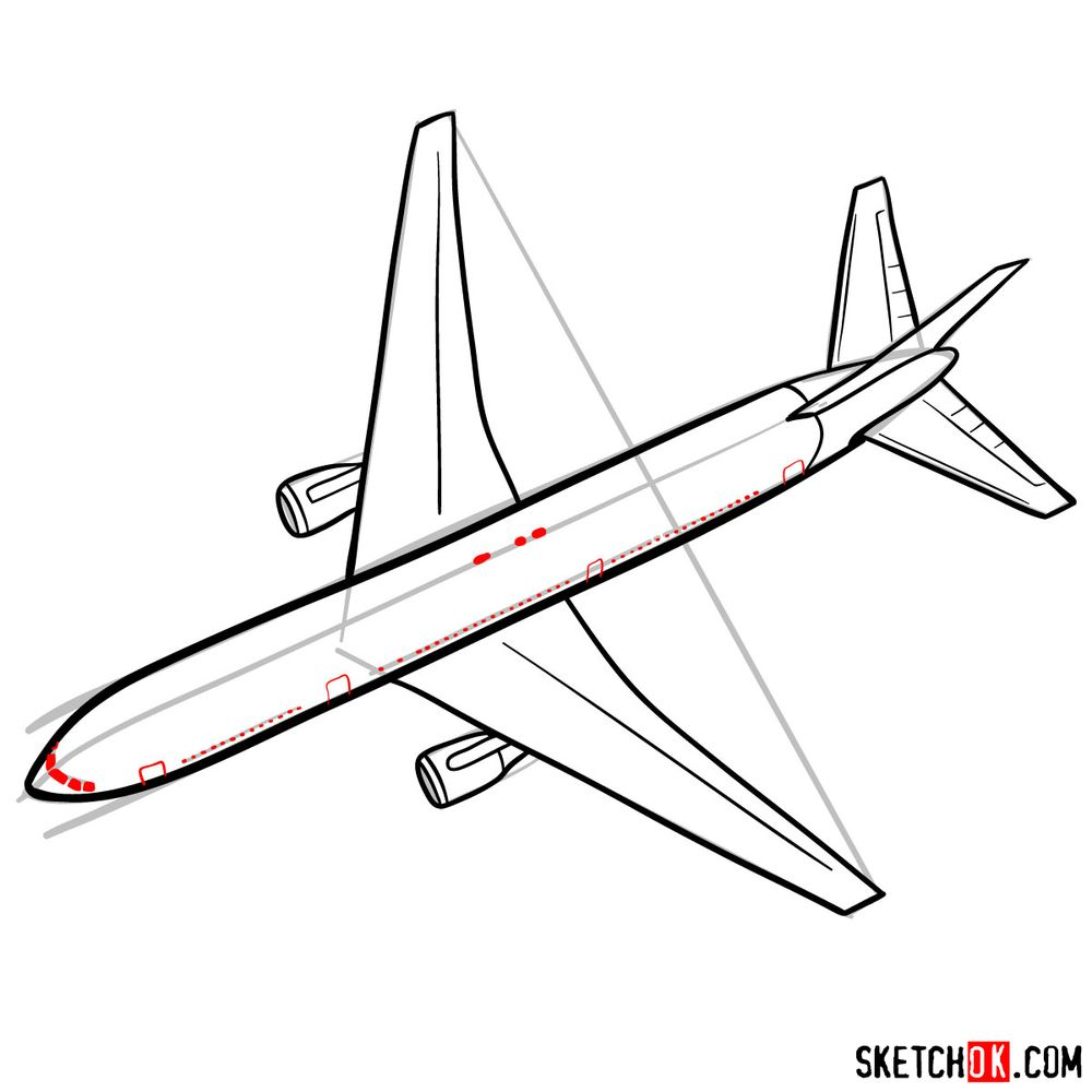 How to draw Boeing 767 - step 09