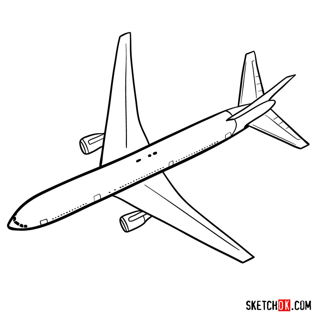How to draw Boeing 767 - step 10