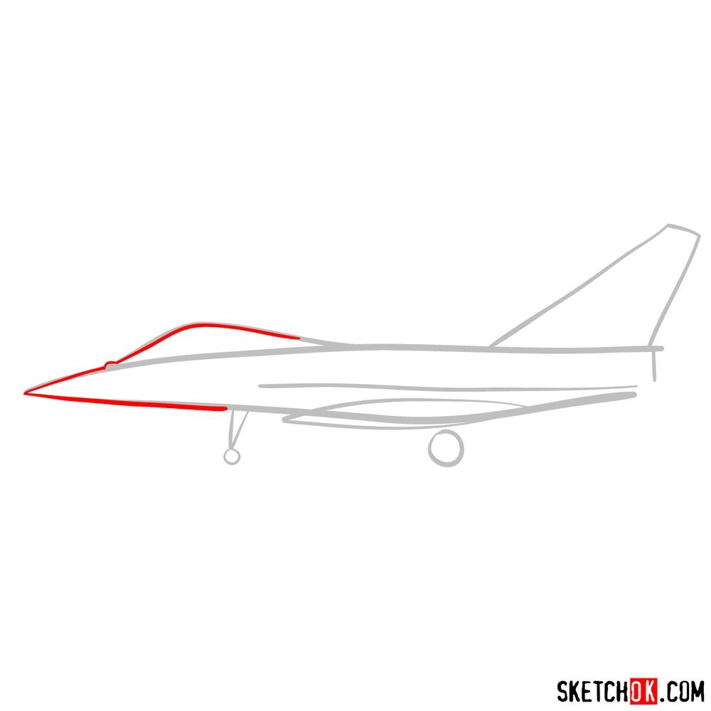 How to draw Dassault Rafale French military jet - step 03