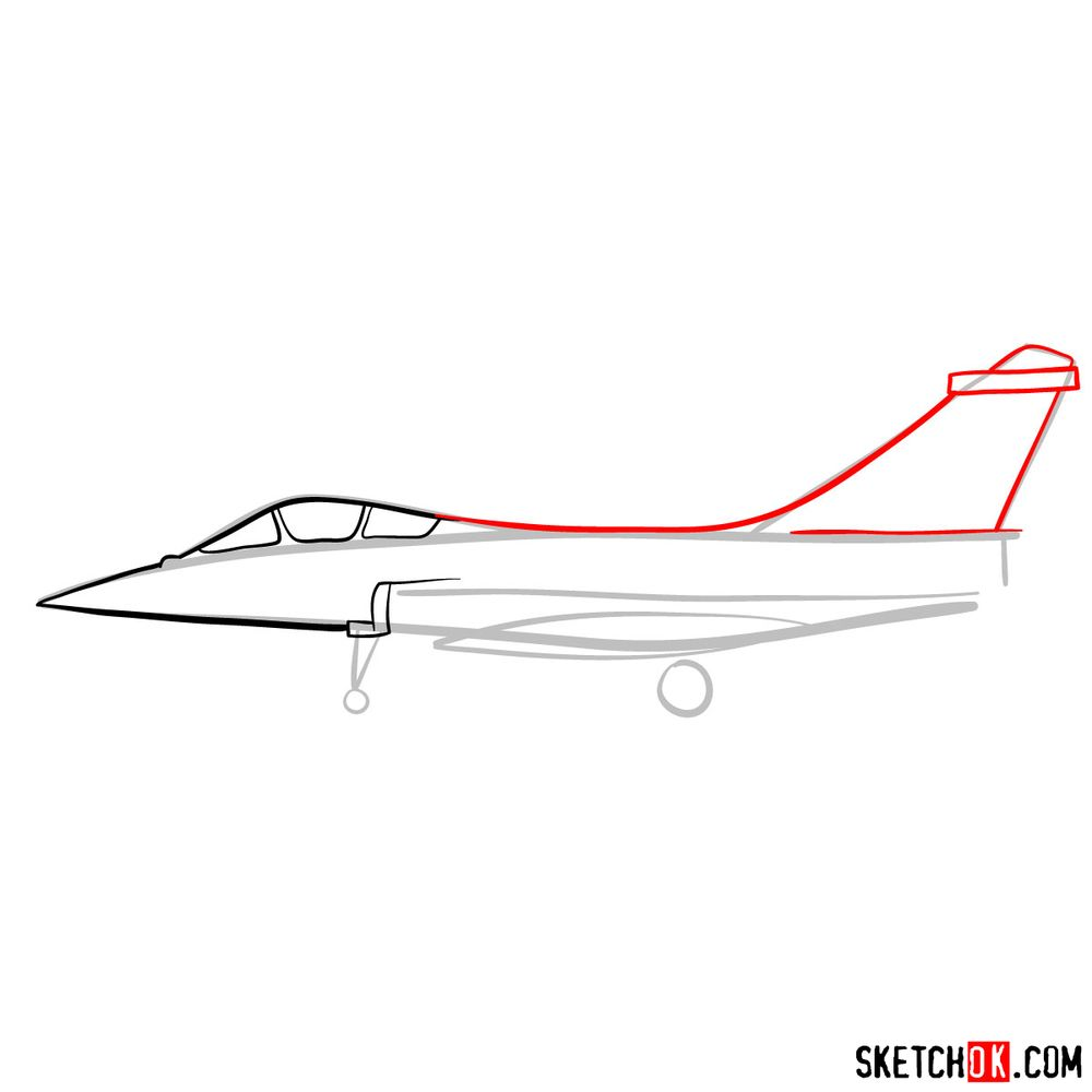 How to draw Dassault Rafale French military jet - step 05