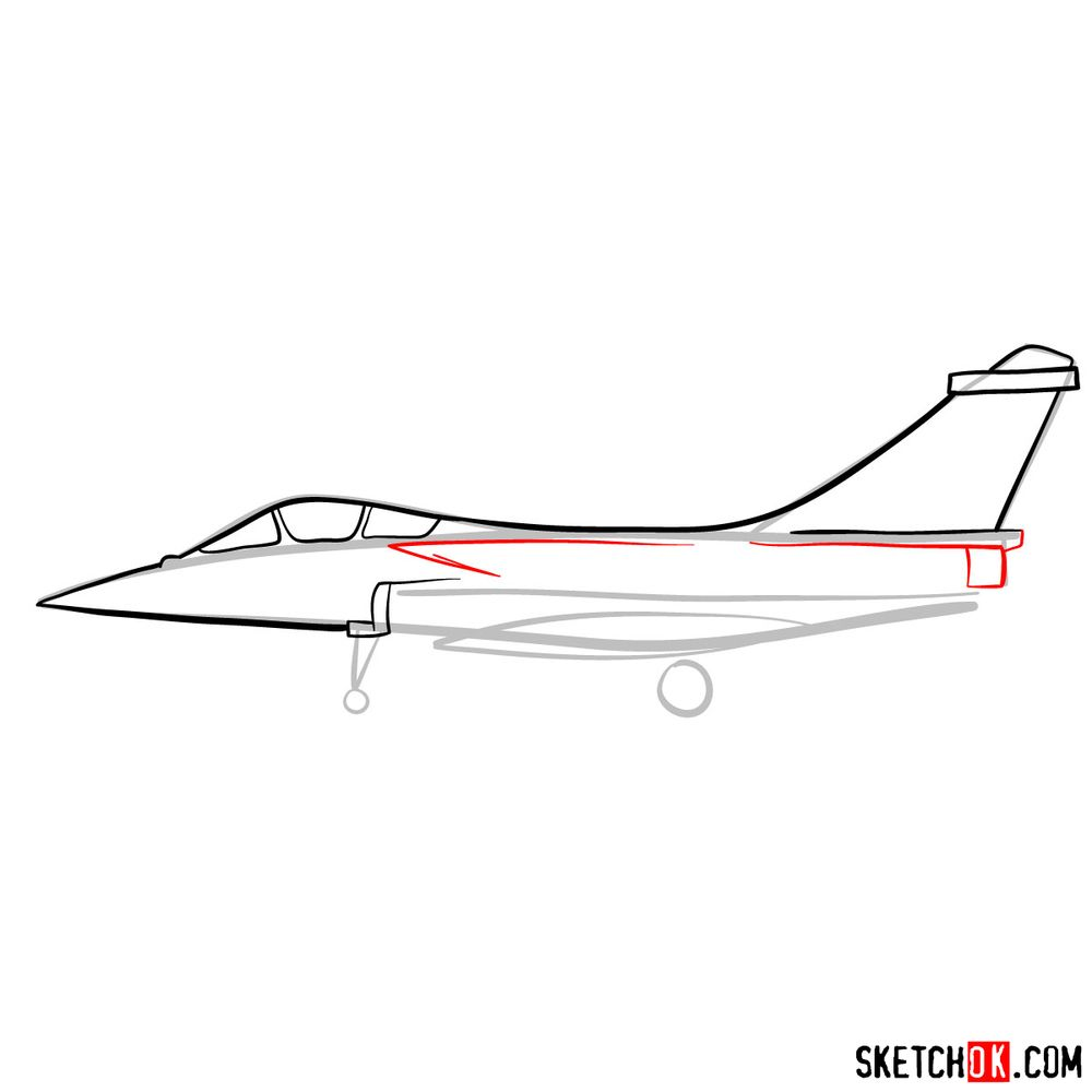 How to draw Dassault Rafale French military jet - step 06