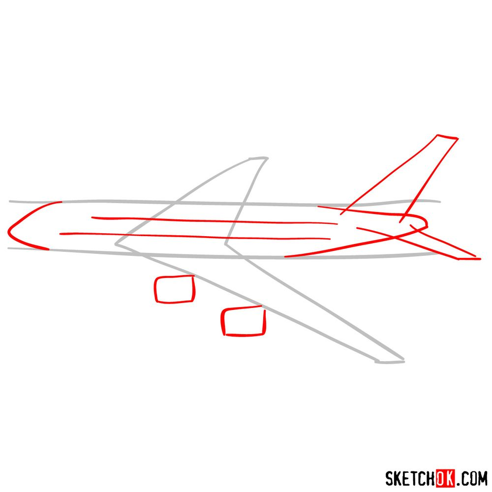 How to draw Airbus A380 side view - step 02