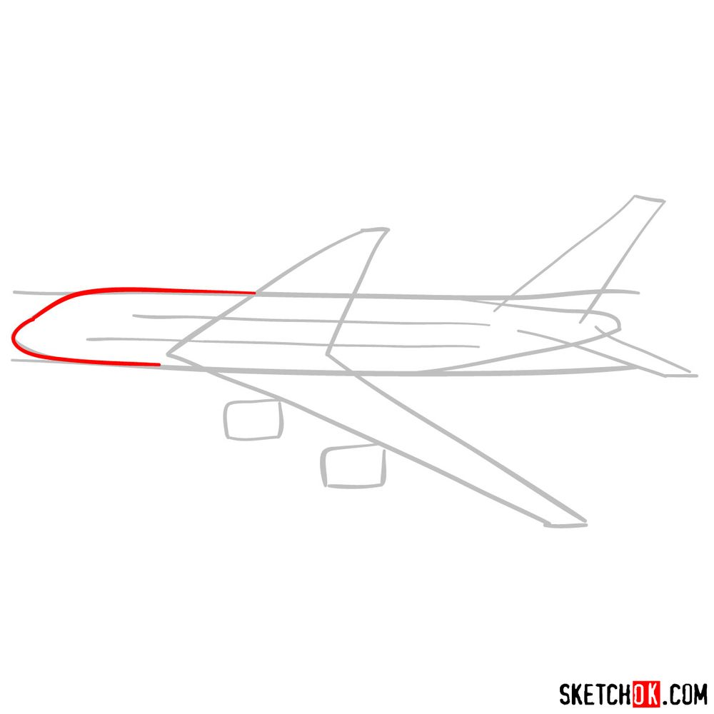How to draw Airbus A380 side view - step 03