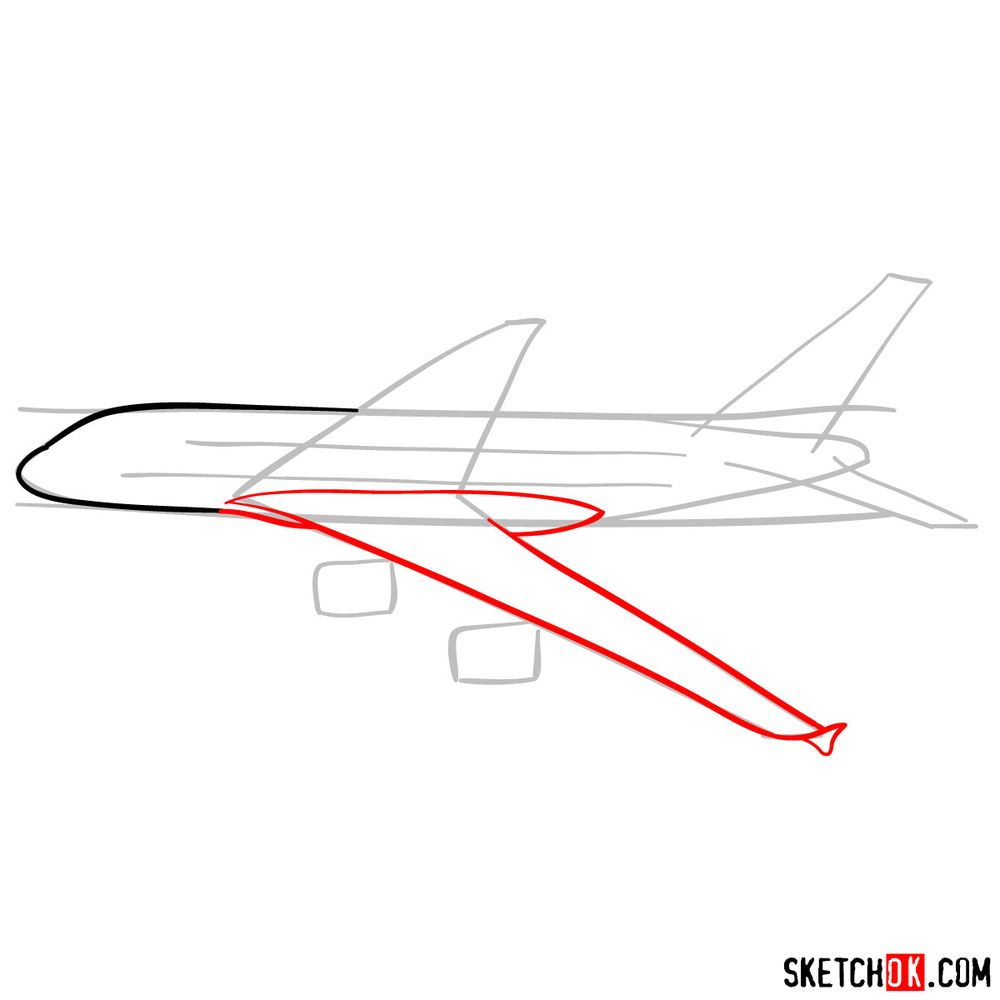 How to draw Airbus A380 side view - step 04