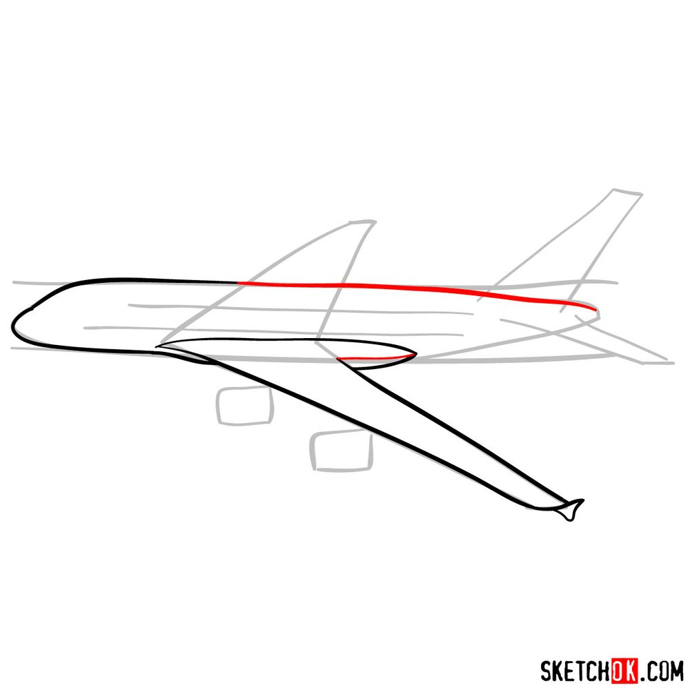 How to draw Airbus A380 side view - step 05